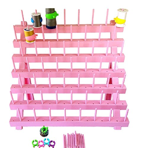 PeavyTailor Thread Stand/Rack Organizer for Sewing Quilting Embroidery Spools and Mini Cones - Pink 4 (Mini Wooden Spool)