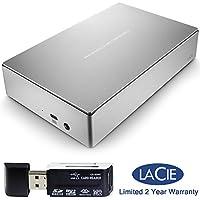 LaCie Porsche Design 5TB USB-C Desktop Hard Drive, Silver STFE5000101 / STFE5000100 and Memory Card reader