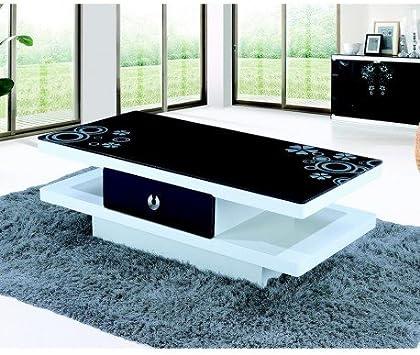 Table Basse Anna Design Laque Blanc Avec Plateau En Verre Noir