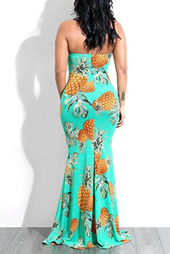 Lake Pineapple Cut Shoulder Party Floor Blue Womens Printed Domple Out Length Off Dress XwtPqCx6