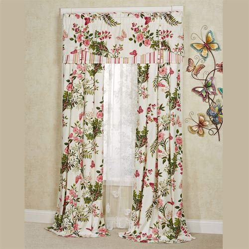 Touch of Class Butterfly Garden Tailored Curtain Pair Ivory 84 x - Garden Valance Tailored