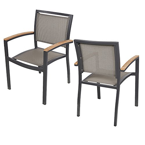 KARMAS PRODUCT 2 Pack Stackable Indoor/Outdoor Patio Dining Chairs with Teak Armrest,Textilene Mesh Fabric Aluminum Frame,Gray