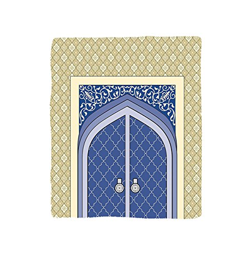 VROSELV Custom Blanket Moroccan Medieval Door with Ottoman Architecture Persian Influences Islamic Culture Design Soft Fleece Throw Blanket Blue Beige by VROSELV