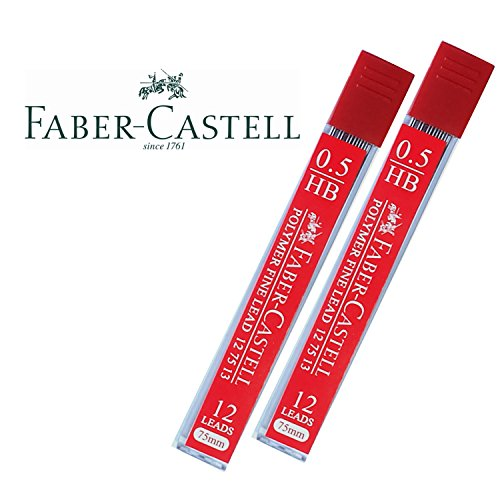 Faber-Castell Lead Refills 0.5mm HB Black 12 Leads, 75mm. [Pack of 2]