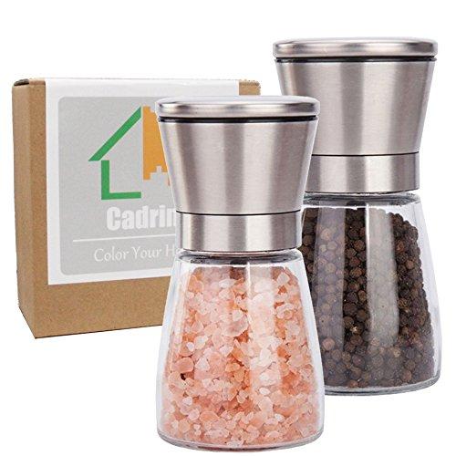 Cadrim Moulin à poivre et sel Manuel Moulin à sel Moulins à épices Salières et Poivrières Broyeur manuel Pour Cuisine Repas Plat Table-Set de deux