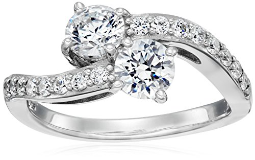 Platinum-Plated Sterling Silver Swarovski Zirconia 2-Stone Curve Bypass Ring, Size 7 Two Stone Bypass Ring