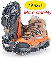 Upgraded Version of Walk Traction Ice Cleat Spikes Crampons,Stainless Steel Spikes, Fit ice Fishing, Hunting,