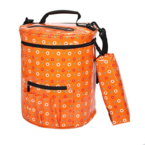 Flameer Big Slot Knitting Bag Storage For Wool Yarn Crochet Needle Waterproof Basket - Orange (Wool Large Orange Sized)