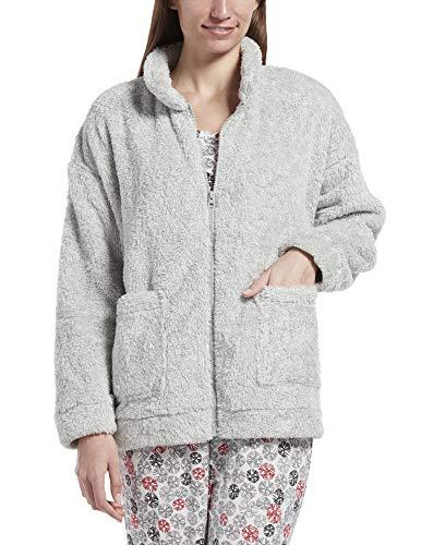 HUE Women's Fleece Bed Jacket, Sterling Blend, L/XL