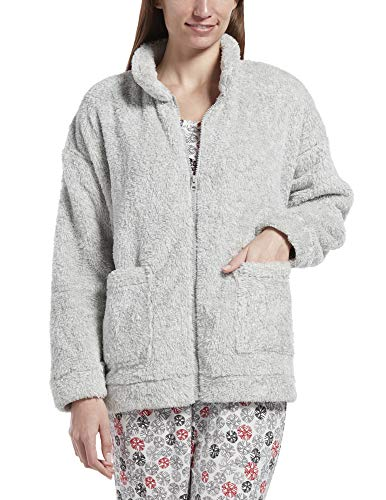 HUE Women's Fleece Bed Jacket, Sterling Blend, L/XL