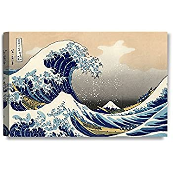 DecorArts - The Great Wave off Kanagawa, Katsushika Hokusai Classic Art Reproductions. Giclee Canvas Prints Wall Art for Home Decor. 24x16""