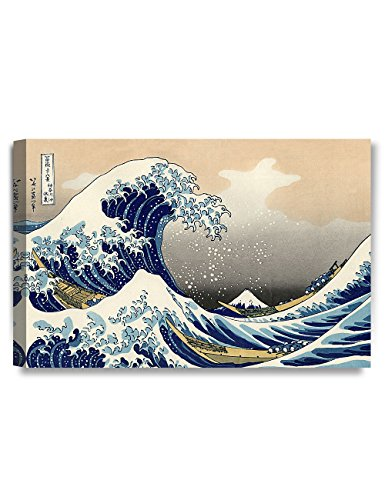 DECORARTS - The Great Wave Off Kanagawa, Katsushika Hokusai Classic Art Reproductions. Giclee Canvas Prints Wall Art for Home Decor. 24x16