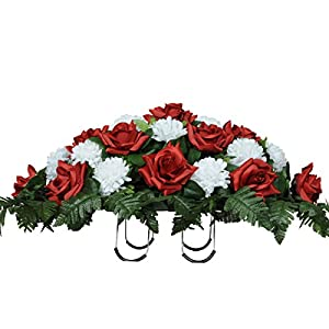 Sympathy Silks Artificial Cemetery Flowers Saddle-Arrangement - Red Roses & White Carnations Silk Fake Flowers Outdoor Grave-Decorations - Non-Bleed, Easy Fit 45
