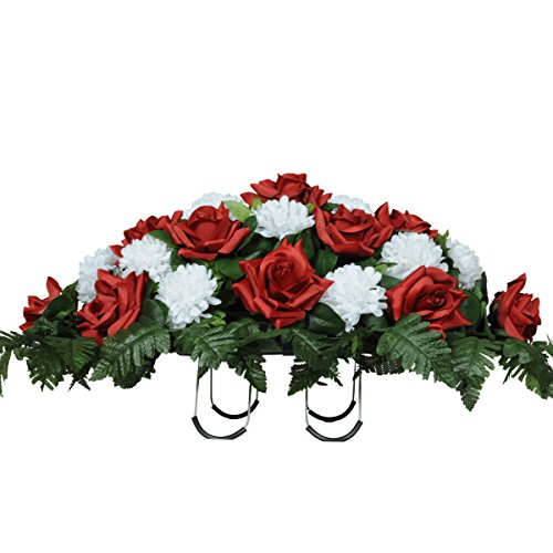Sympathy Silks Artificial Cemetery Flowers Saddle-Arrangement - Red Roses & White Carnations Silk Fake Flowers Outdoor Grave-Decorations - Non-Bleed, Easy Fit -