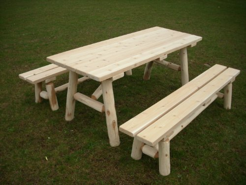 White Cedar Log Picnic Table with Detached Bench – 8 foot For Sale