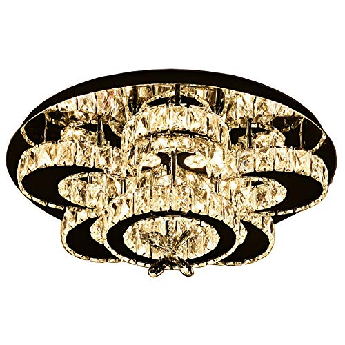 CUTANZI Crystal LED Flush Mount Chrome Chandelier Ceiling Light Lamp Light Source Fixture for Bedroom, Living Room, Dining - Chrome Landscape Classic Lighting