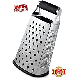 Cheese Grater - BEST GRIP - Premium Box Grater - Grater - Vegetable Shredder - Zester - for kitchen - 4 sided stainless steel by Capocuoco 17