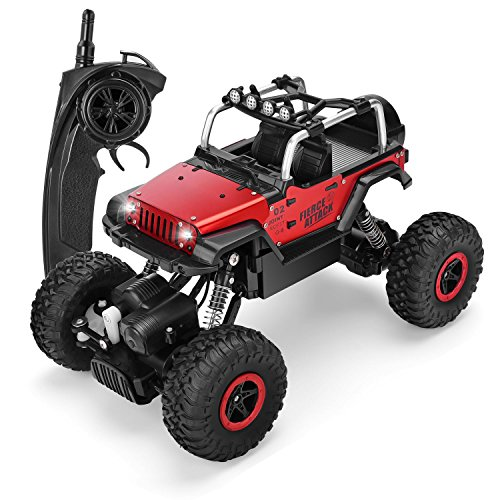 (SZJJX RC Cars 1/18 Scale 4WD High Speed Vehicle 12MPH+ 2.4Ghz Radio Remote Control Off Road Racing Monster Trucks Fast Electric Race Desert Buggy with LED Light Vision Metal Shell Red)