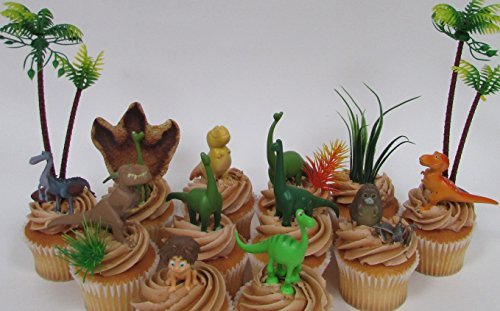 Disney The GOOD DINOSAUR Birthday CUPCAKE Topper Set Featuring Spot Arlo Thunderclap Butch Bubbha Forrest Woodbush and More