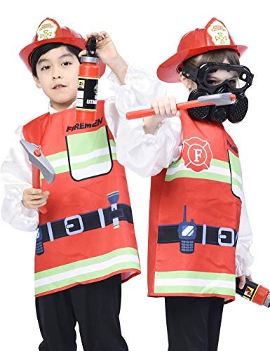 IKALI Kids Fireman Costume, Fire Chief Coats Pretend Play Outfit with Accessories (5pcs) 7-8Y -