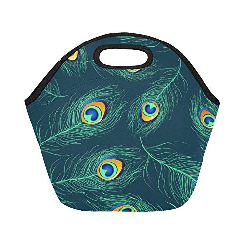 Insulated Neoprene Lunch Bag Seamless Pattern Of Peacock Feathers Orig Large Size Reusable Thermal Thick Lunch Tote Bags For Lunch Boxes For Outdoors,work, Office, School (Orig Box)