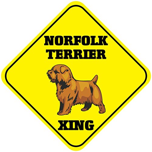 Cross Terrier - Aluminum Cross Sign Norfolk Terrier Xing Crossing Metal Wall Decor - 12