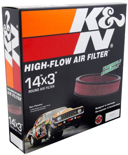 """024844001344 - K&N E-1650 High Performance Replacement Air Filter 14"""" Round 3"""" Height carousel main 1"""