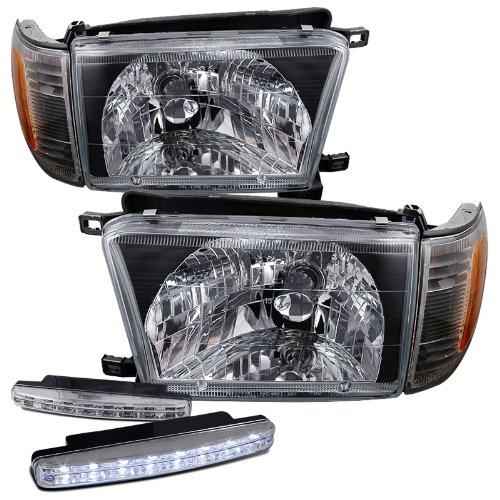 4runner Projector Headlights (1996-1998 Toyota 4Runner Headlights Lamps + 8 Led Fog Bumper Light)