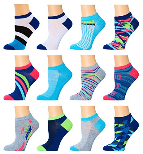 Women's TopSTEP, Low-Cut Socks, 12 Pack,16123-multi,Sock Size: 9-11 Fits Shoe: 4-10