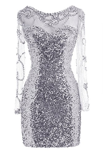 Dresstore Women's See Through Sequins Prom Dress Short Beaded Homecoming Dress Silver US 10