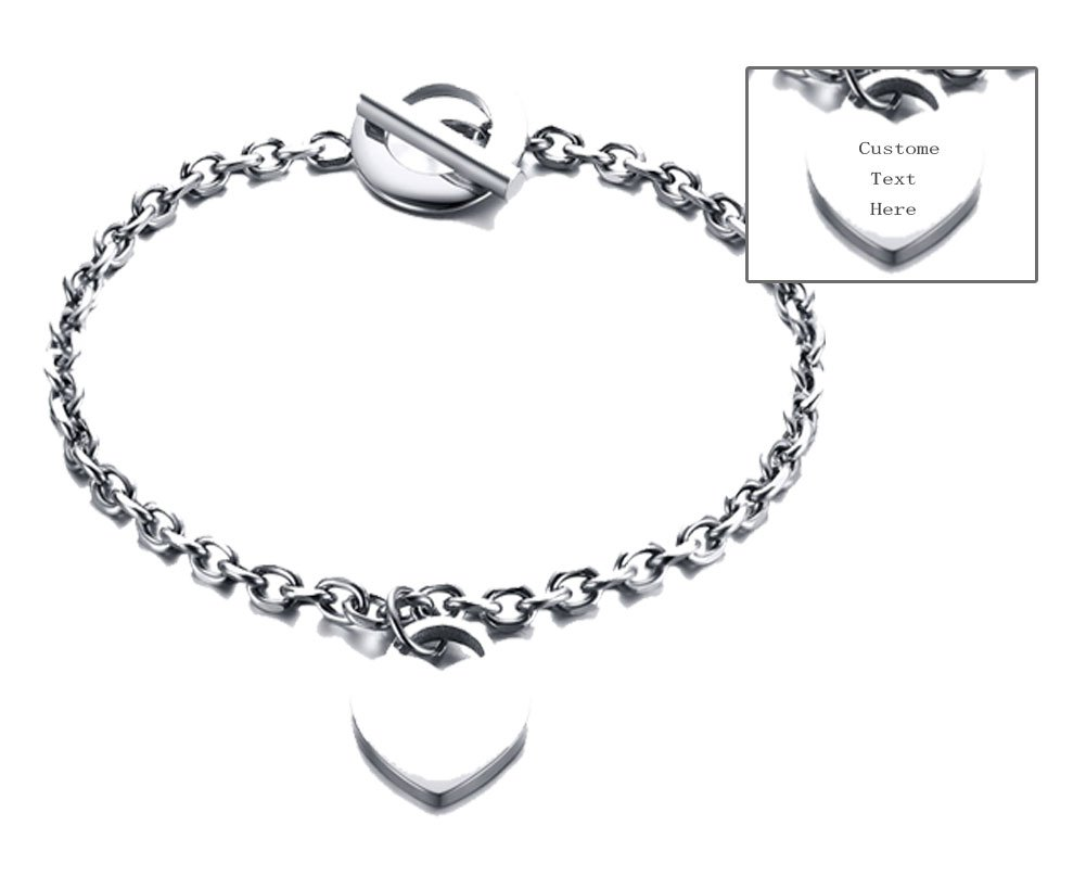 XUANPAI Personalized Custom Stainless Steel Dainty Heart Charm Name Initial Monogram ID Bracelet Gift for Women