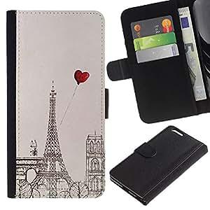 Billetera de Cuero Caso Titular de la tarjeta Carcasa Funda para Apple Iphone 6 PLUS 5.5 / Heart Love Eifel Tower Drawing / STRONG