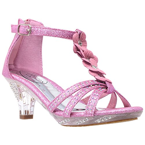 Generation Y Kids Heel Sandals T-Strap Flower Glitter Rhinestone Clear Low Heels Pink SZ 2 Youth ()