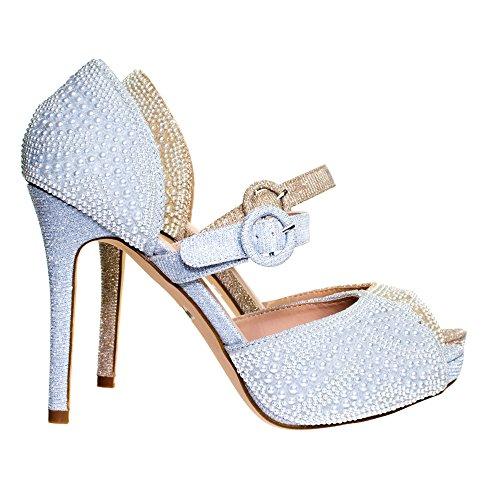 Fiore Perla Abbellire Glitter Mary Jane Tacco Alto Dorsay Abito Da Sposa Pompa Argento