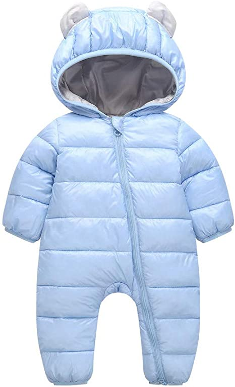 Baby Snowsuit Winter Hooded Romper Down Skisuit Warm Outfits for 9-24 Months