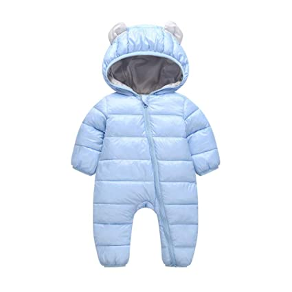 38702c5efe5 Image Unavailable. Image not available for. Color  Franterd Baby Girl Boy  Winter Warm Romper Snowsuit Down Jacket Kids Thick Hooded Cute Ear Puffer