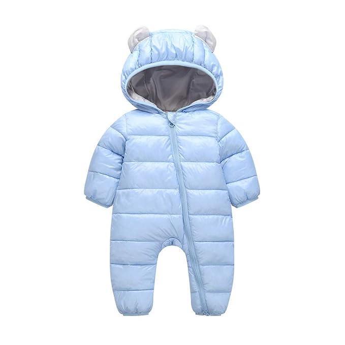 Winter Warm Newborn Baby Sleeveless Hooded Jumpsuit Rabbit Ear Romper Snowsuit