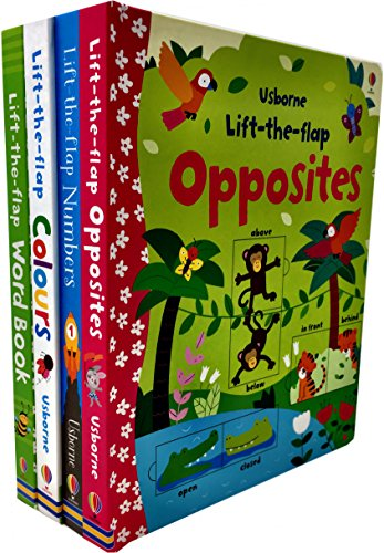 - Usborne Lift the Flap Collection 4 Books Set (Usborne Lift-the-Flap-Books) (Number, Word book, Colours, Opposite)