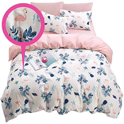 ELLA & KAY Flamingo Floral Teen Bedding Set - 100% Cotton, Zipper Closure, Reversible Duvet Cover- Soft Flamingo Pink Floral College Bedding Set, 3 Pieces Girls Kids Women Comforter Cover Queen.