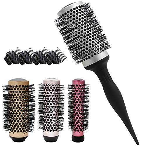 LELEKEY 4in1 Round Hair Brush Set, 1 Detachable Handle and 4 Size Barrel Head,Anti-Static Nano Thermic Ceramic & Ionic Tech for Blow Hair Drying, Styling, Curling,Straightening, Hair Volume and Shine