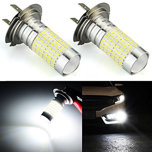 JDM ASTAR 1200 Lumens Extremely Bright 144-EX Chipsets H7 LED Bulbs with Projector for DRL or Fog Lights, Xenon White