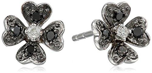 10k White Gold Flower Black and White Diamond Earrings (1/10 cttw, I-J (10k White Gold Diamond Flower)