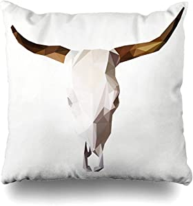 Staroatl Throw Pillow Cover Horns Polygon Bull Skull Triangle Abstract Wildlife Cow Geometric Bison Bone Creative Design Square Cushion Sofa Pillowcase 18 x 18 Inches Home Decor Pillow Case