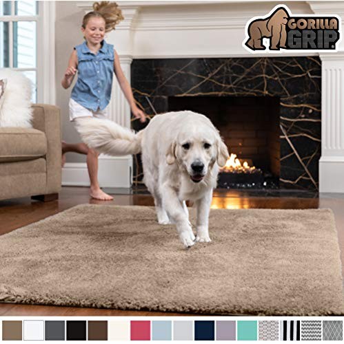 GORILLA GRIP Original Faux-Chinchilla Area Rug, 4x6 Feet, Super Soft and Cozy High Pile Washable Carpet, Modern Rugs for Floor, Luxury Shaggy Carpets for Floors, Bed and Living Room, Taupe (For Living Large Room Rugs)