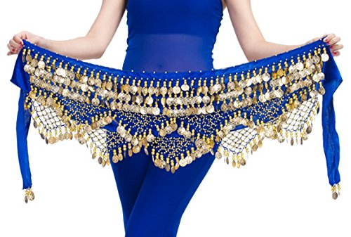 Women's Gold Coins Belly Dance Performance Costume Hip Scarf Velvet Wrap Outfit Belt Royal Blue