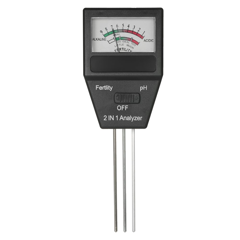 KKmoon Mini 2 in 1 Soil pH Meter Fertility Tester Analyzer with Three Probes for Gardening Farming Lawn