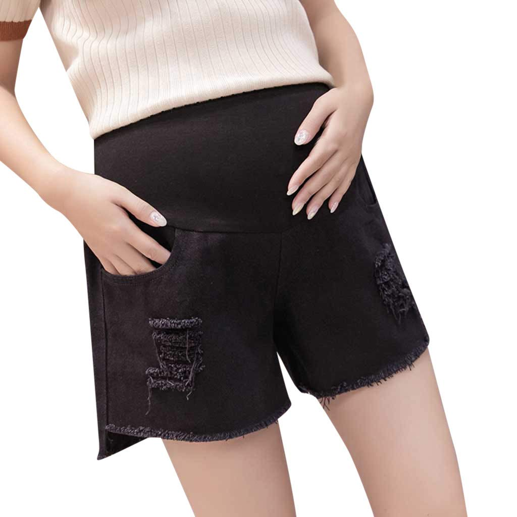 Maternity Shorts,Zerototens Pregnant Women Pregnancy Short Ripped Denims Pants Stretch Skinny Pants Trousers High Elastic Over-Bump Pregnancy Shorts with Pocket