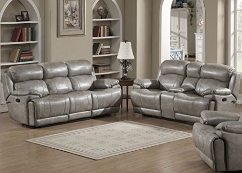 AC Pacific Estella Collection Contemporary 2-Piece Upholstered Leather Living Room Set with a Recliner Sofa and Loveseat with Storage Console and Cup Holders, (Ac Furniture Loveseat)