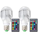 #8: DLPIN 2 Pack 10w RGBW Color Changing Light Bulbs Led Dimmable Lamp with Remote Control e26