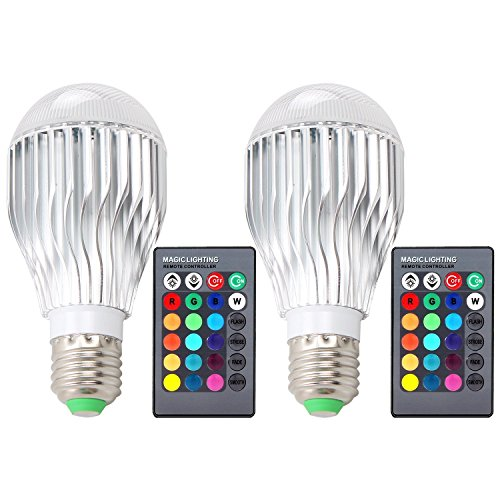 DLPIN 2 Pack 10w RGBW Color Changing Light Bulbs Led Dimmable Lamp with Remote Control e26 by DLPIN